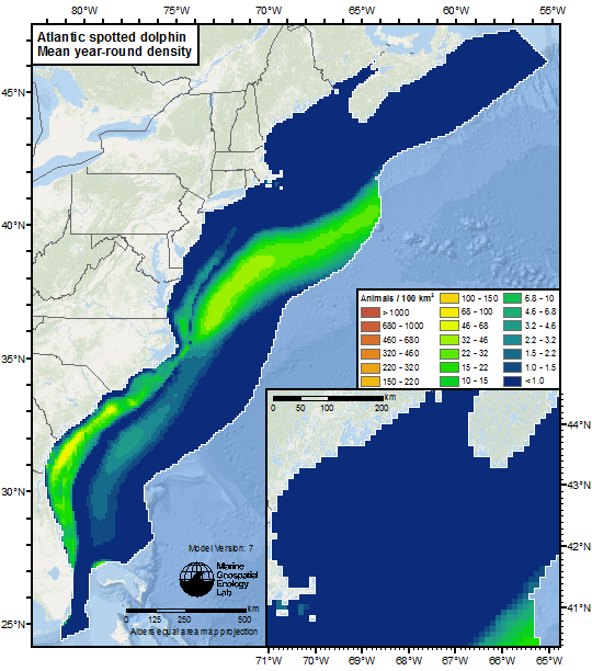 density map for the Atlantic spotted dolphin